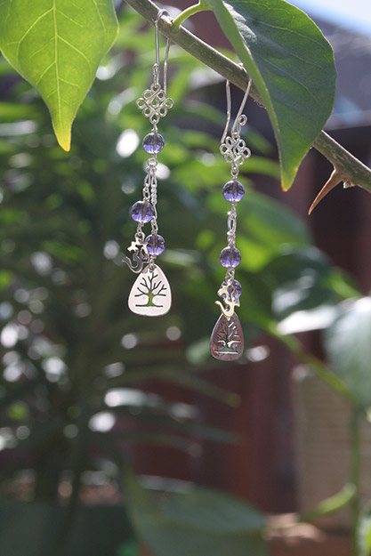 Sacred Symbols Earrings with Amethyst